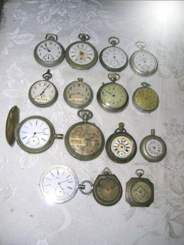 15 Antique Pocket Watches Etc Billodes Chinese Mkt Elroy Repair Spares Steampunk in Jewelry & Watches, Watches, Pocket Watches | eBay
