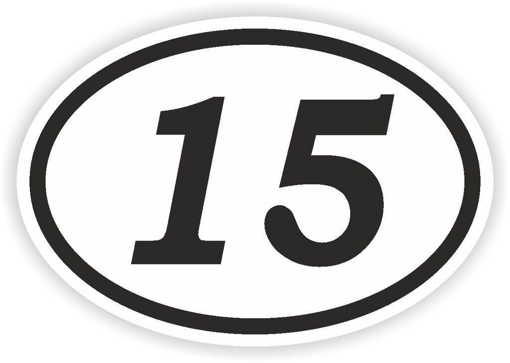 15 Fifteen Number Oval Sticker Bumper Decal Car Motocross Motorcycle Aufkleber