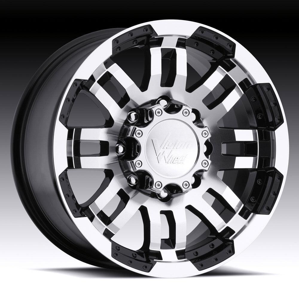 5X127 BLACK VISION WARRIOR WHEELS RIMS 5 LUG ASTRO VAN GMC SAFARI 1500