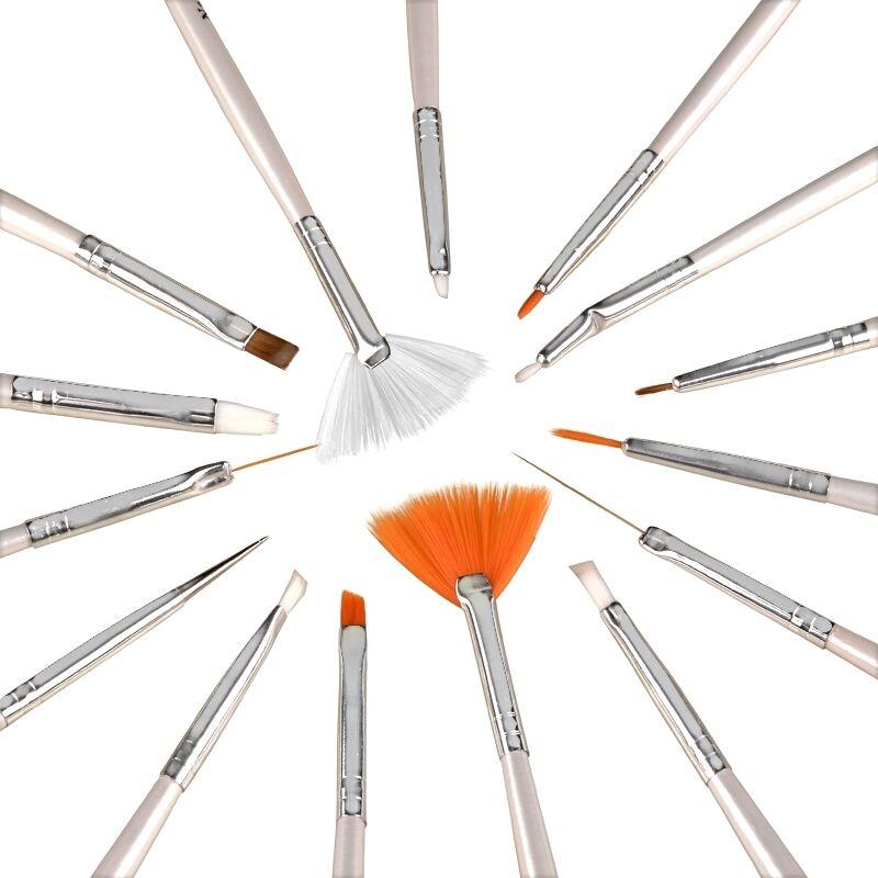 15 Pcs Nail Art Design Brush Set Painting Pen Tips Tool