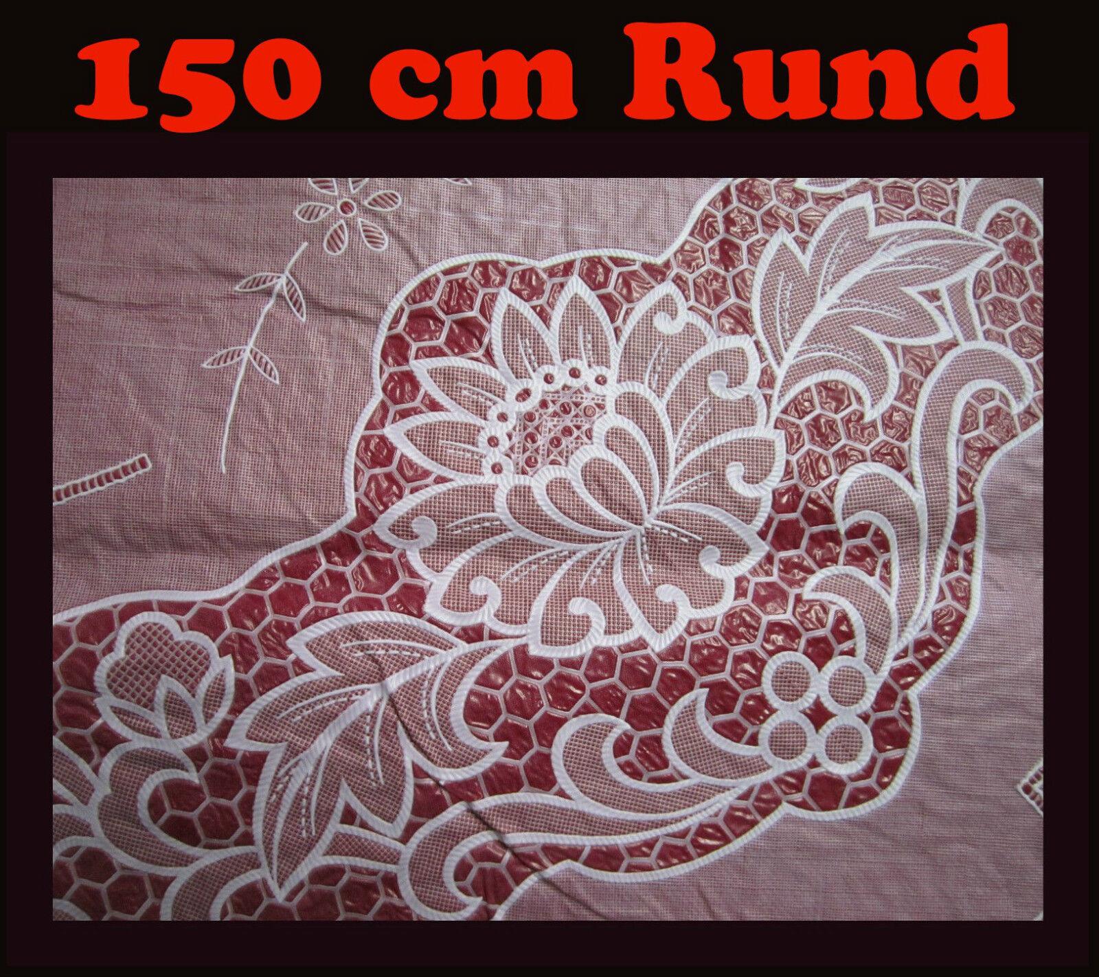 150 cm rund rot vinyl tischdecke schutzdecke mit blumenmotiv neu ebay. Black Bedroom Furniture Sets. Home Design Ideas