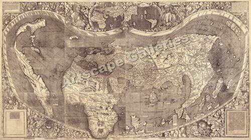 1507 Historic Wall Map Waldseemuller 1500's - 14x24 in Art, Art from Dealers & Resellers, Prints | eBay