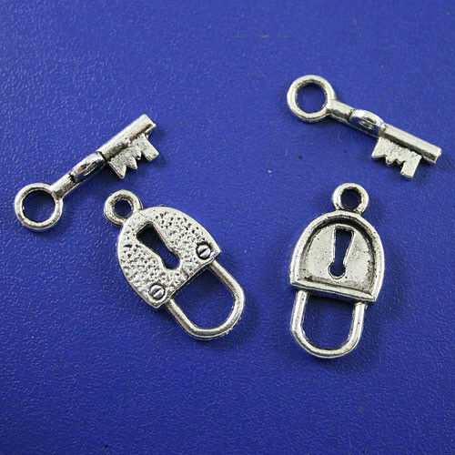 12//24Sets Tibetan Silver Lock//Key Interface Toggle Clasps Bracelet Connectors