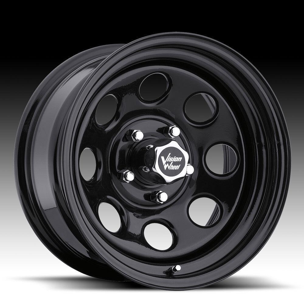 15x7 6 Vision Soft 8 Black Steel Wheels Rims 5x4 5 Jeep Wrangler TJ YJ Cherokee