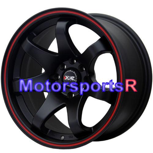Black Red Stripe Concave Rims Wheels Stance 4x114 3 4x100 4x4 5