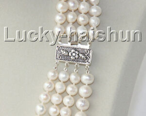 16-4-Strand-9mm-white-FW-pearls-necklace-925-silver-clasp-j8938