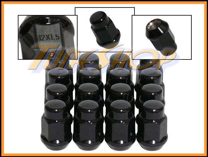 16 Bulge Acorn Wheels Rims Lug Nuts 12x1 5 M12 1 5 Closed End Black 19