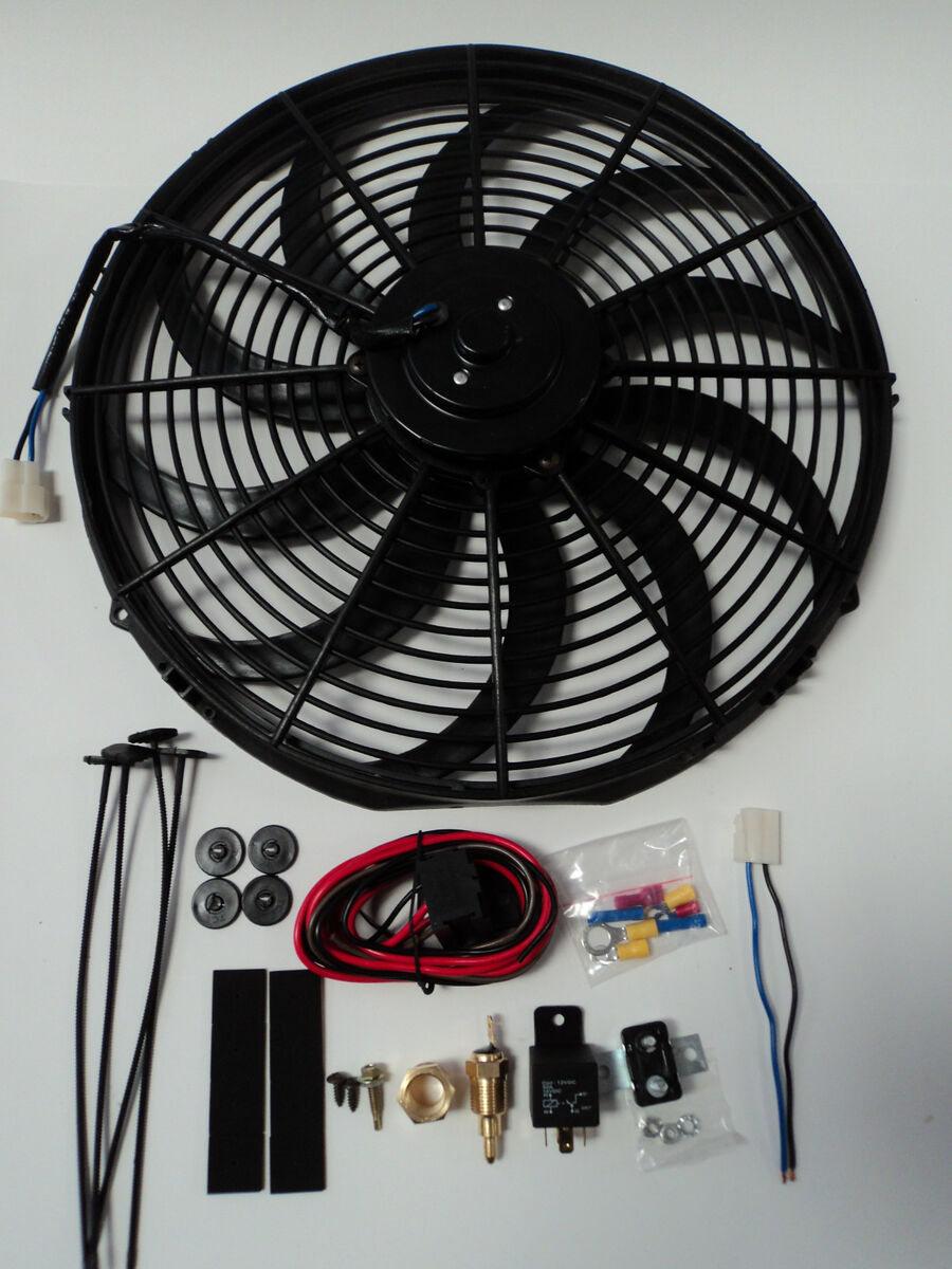 16 Electric Fan 3000 Cfm Wiring Install Kit Complete Thermostat 50 Rfk1d Dual Amp 0 Gauge Awg Car Audio Direct Relay