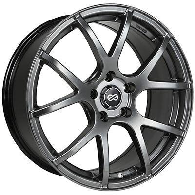 16 Enkei M52 Black Rims Wheels 16x7 45 5x100 Subaru WRX Impreza Forester Legacy