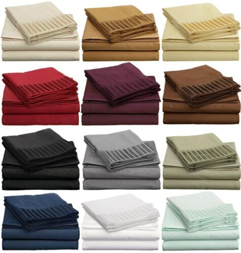 1600 THREAD COUNT DEEP POCKET BED SHEET SET 4 PIECES 12 COLORS/ ALL SIZES in Home & Garden, Bedding, Sheets & Pillowcases | eBay