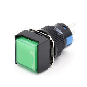 16mm-Druckknopf-Druckschalter-schalter-Platz-Cap-LED-Gruen-Licht-DC-12V-5Pin