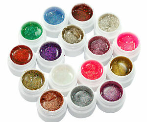 16tlg-Mischung-Farben-Nagel-Kunst-Profi-Glitzer-Nail-Art-Tips-UV-Gel-Set