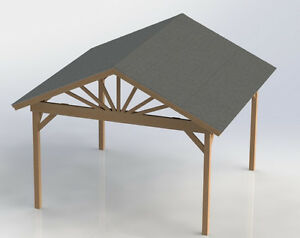 16 39 x16 39 gable roof gazebo building plans easy to build for Easy to build gazebo