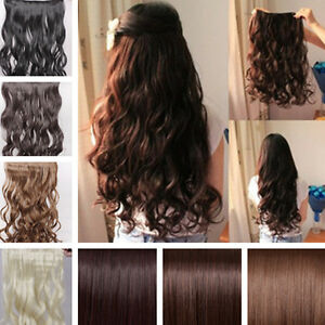 "17"" 26"" Long New Women Hair Extensions Wavy Curly Straight Synthetic ..."