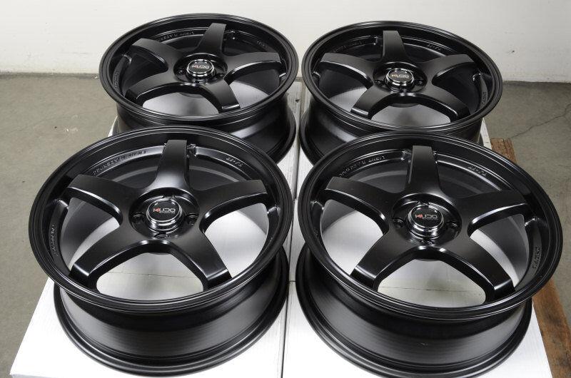 17 4x100 Black Effect Wheels Escort Cobalt Pontiac G5 Protege Civic Lancer Rims