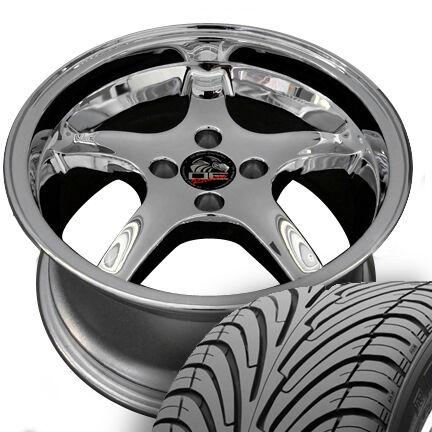Chrome Cobra Wheels Nexen Tires Rims Fit Mustang® GT 79 93
