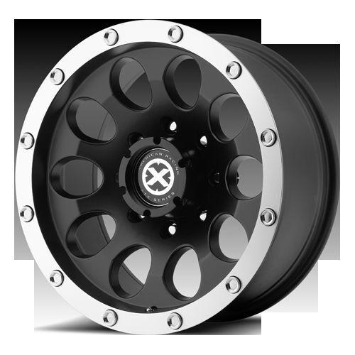 AX186 Slot Black Offroad Ford GMC Chevy Truck Rims Wheels Set