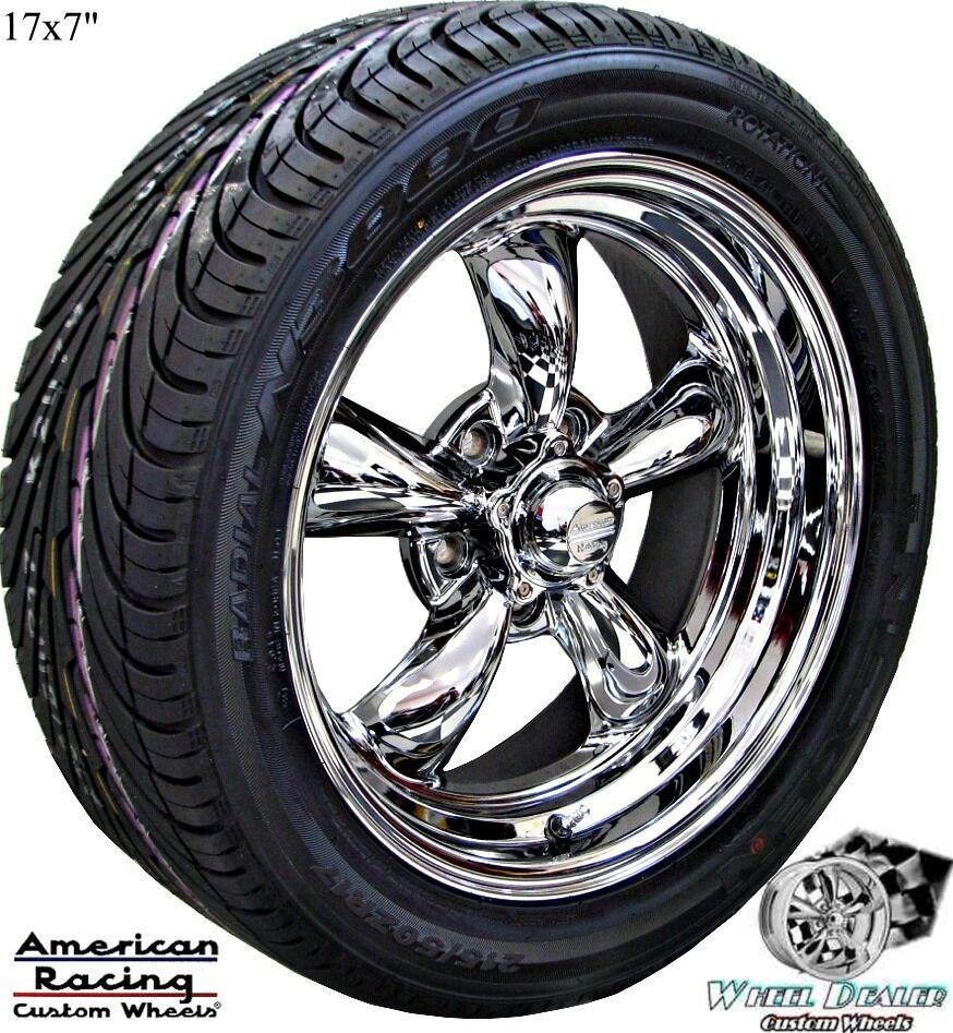 "17"" Chrome American Racing Torq Thrust II Wheels Tires Chevy Nova 1977 1978 1979"