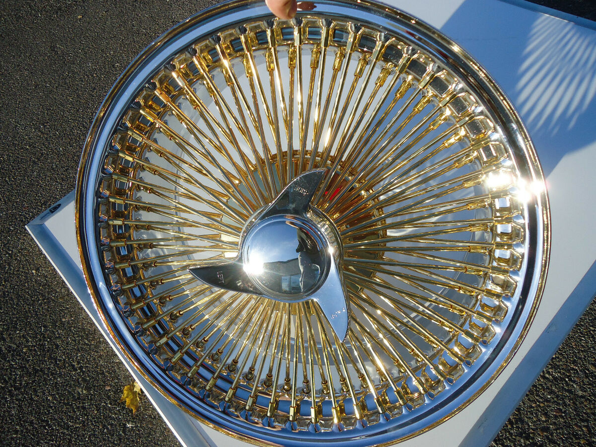 Gold Chrome Wire Wheels Knockoffs Rims Full Set Luxor Zenith OG