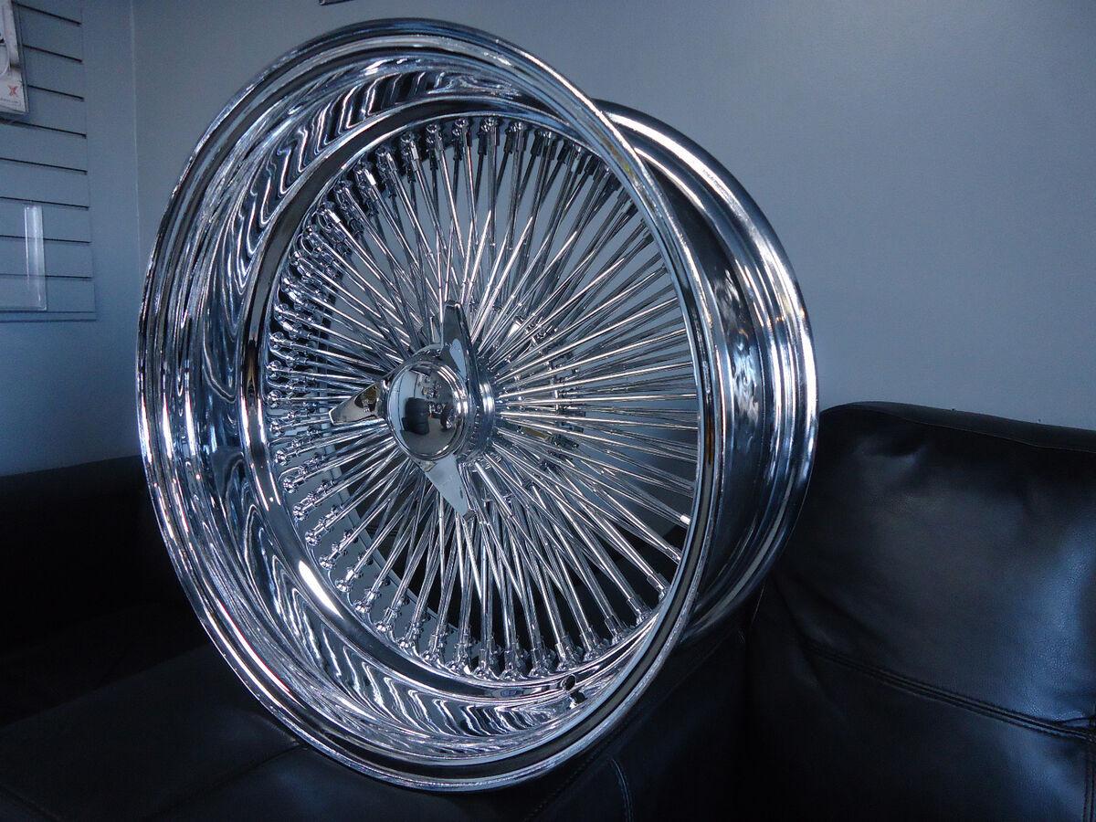 DAYTON CHROME 17x8 Wire Wheels Full Set Rims NEW Deep Dish KNOCKOFF