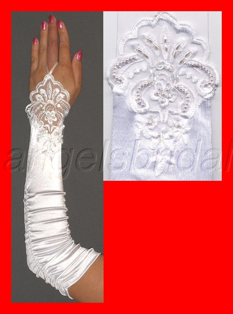 FINGERLESS LACE STRETCH SATIN BRIDAL WEDDING PROM PARTY COSTUME GLOVES