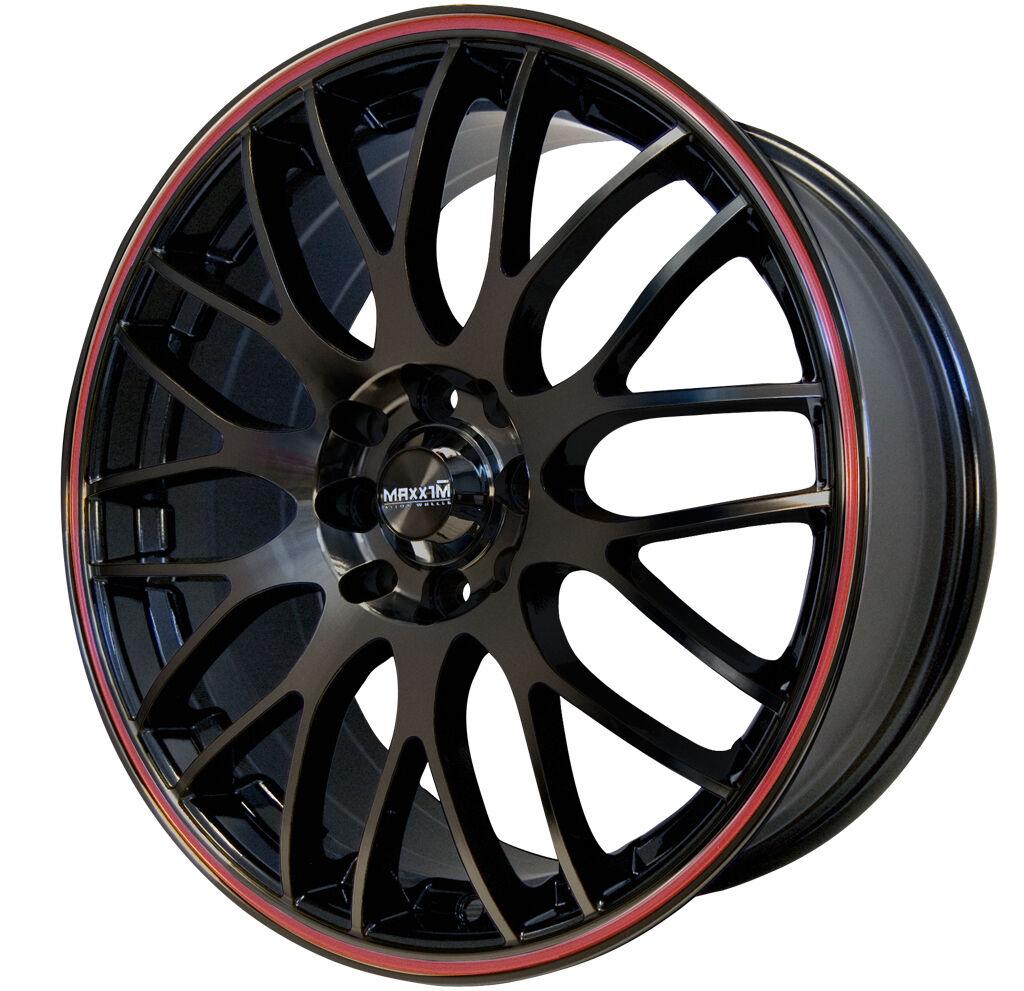 17x7 Maxxim Maze 5x110 115 ET40MM Rims Black Red Stripe Wheel
