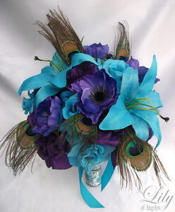 Worldwide Flower Delivery on 17pcs Wedding Bridal Bouquet Flower Decoration Peacock Feathers Purple