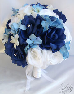 17pcs Wedding Bridal Bride Bouquet Flowers Decorations Package Dark Blue White