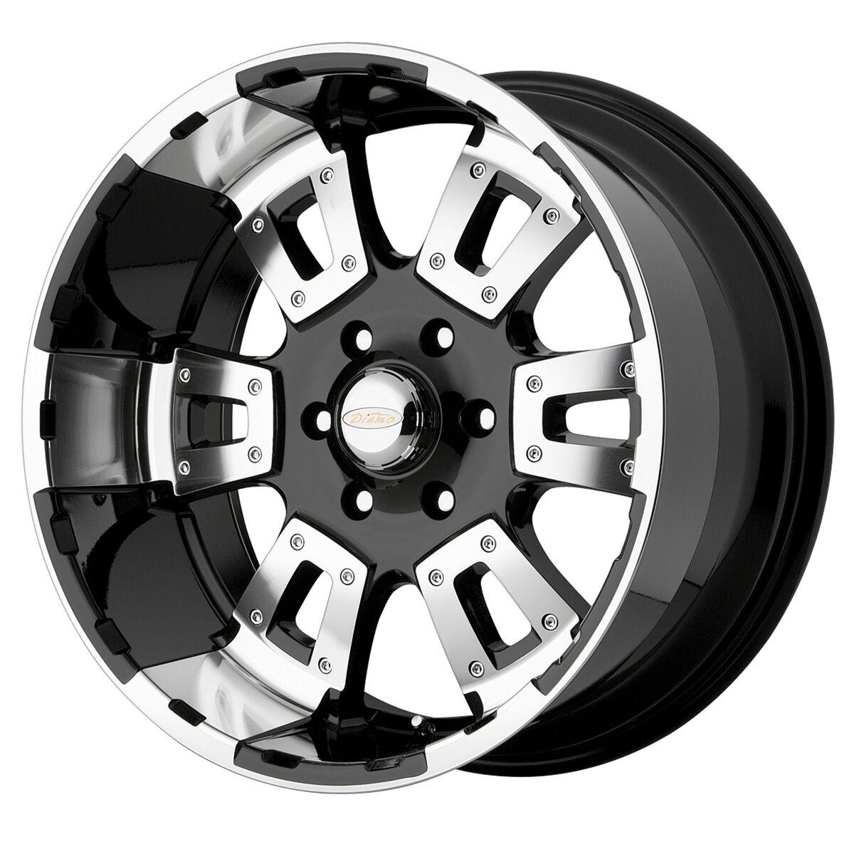 17 Karat 5 6 8 Lug Black Mach Wheels Rims 4 New FREE Caps Lugs Stems