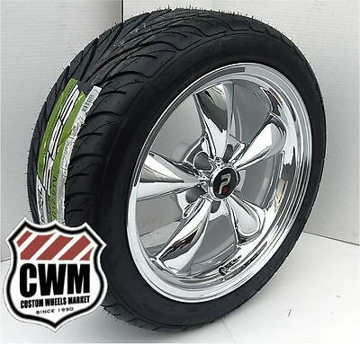 "17x8"" Classic 5 Spoke Chrome Wheels Rims Federal Tires for Chevy Camaro 1968"