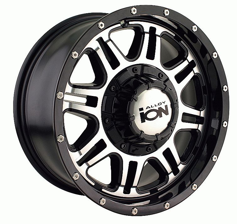 17x8 ion 186 Black Machined Wheels Rims 6 Lug Chevy GM Ford Truck 6x5