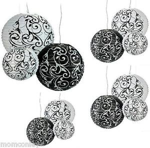 18 ex large paper lanterns black white damask wedding hanging party