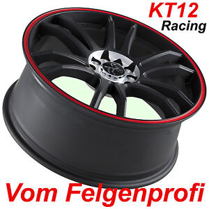 18 keskin kt12 racing schwarz rot alufelgen f r vw beetle. Black Bedroom Furniture Sets. Home Design Ideas