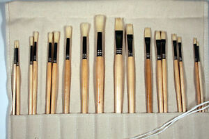 18 LONG HANDLE ART PAINT BRUSHES w/ CANVAS ROLLUP CASE -GREAT FOR OIL, ACRYLICS in Crafts, Art Supplies, Painting | eBay
