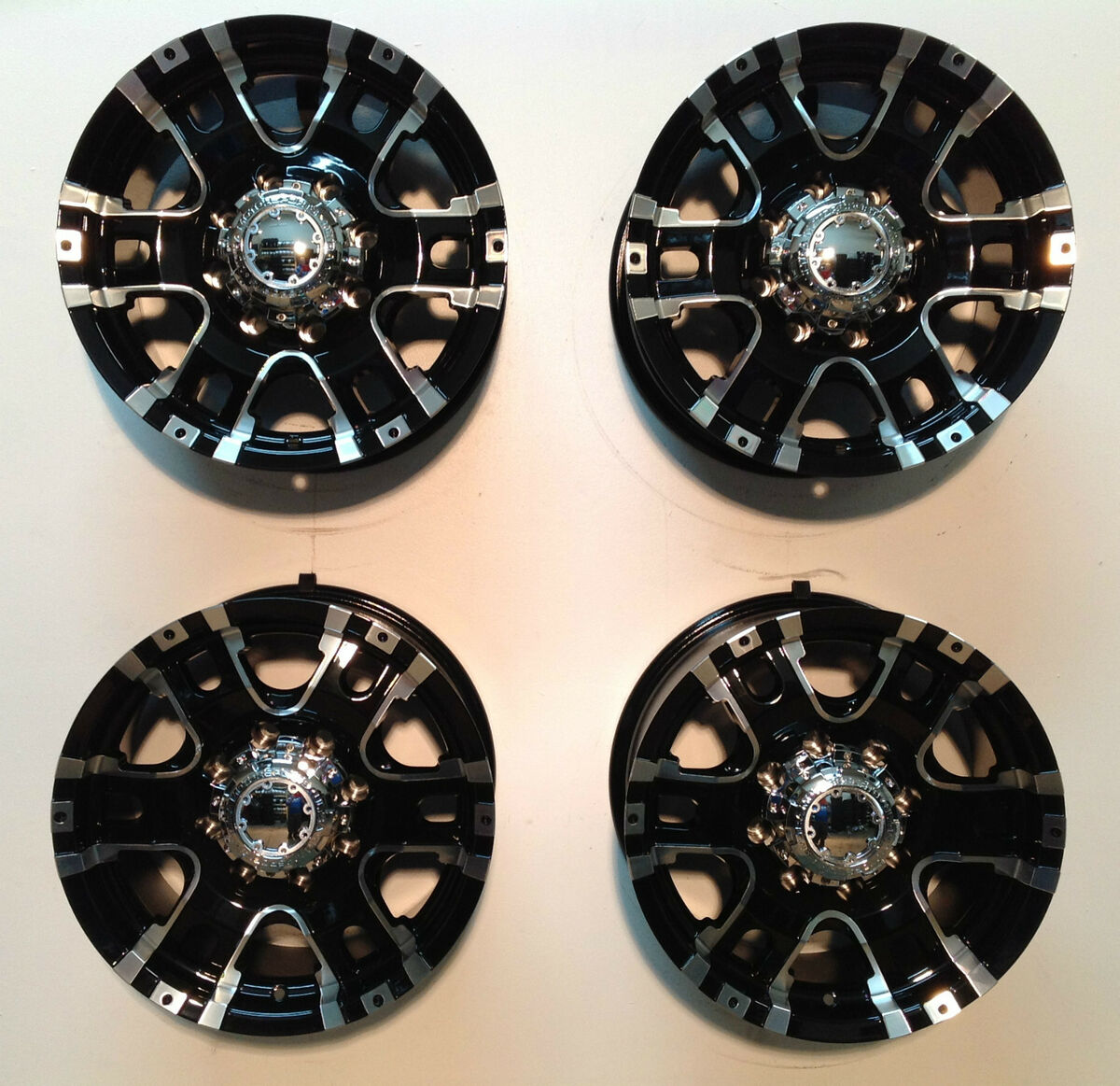 "18"" Ultra Baron 8 Lug Chevy Truck Wheels Rim Black Machined Set 4 GMC 8x6 5 2500"