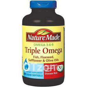 180 nature made triple omega 3 6 9 flaxseed fish oil heart for Flaxseed oil or fish oil