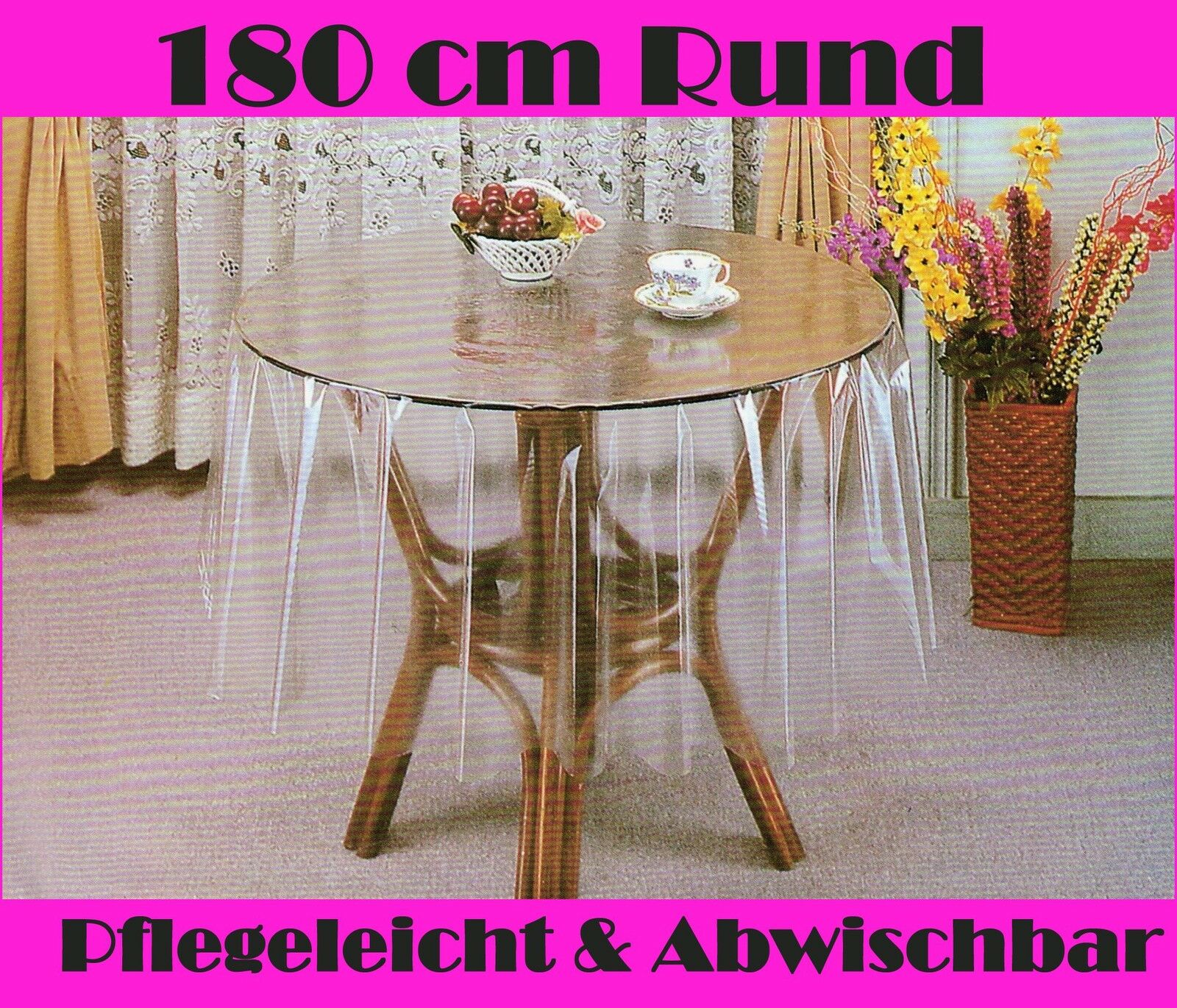 180 rund tischdecke durchsichtig transparent schutzdecke pflegeleicht vinly neu ebay. Black Bedroom Furniture Sets. Home Design Ideas