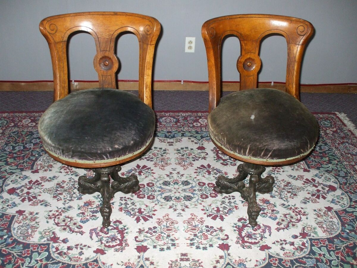 1870's 1890's Antique Steamship Chairs Oak Swivel Cast Iron Lion Head Claw Feet