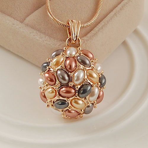 18K Rose Gold Plated Multi-Color Pearls Necklace 12756 in Jewelry & Watches, Fashion Jewelry, Necklaces & Pendants | eBay
