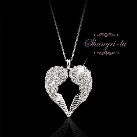 18K WHITE GOLD GP ANGEL WINGS CRYSTAL NECKLACE SP224