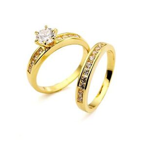 18kt gold filled aaa grade simulated diamond wedding for Ebay diamond wedding ring sets