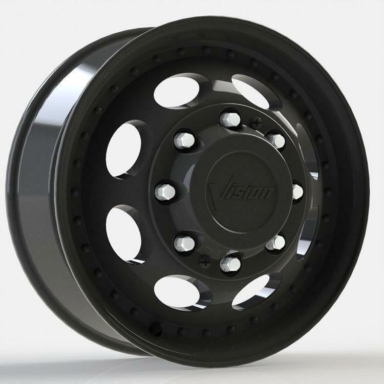 19 5 Black Vision Wheels Tires Dually Ford F350 225 70 19 5 Package