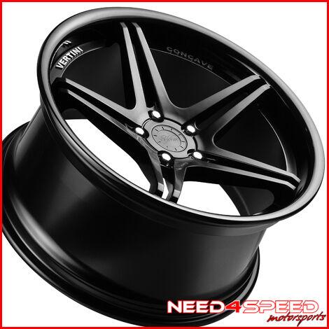"""19"""" Audi B8 A4 S4 Vertini Monaco Matte Black Concave Staggered Wheels Rims"""