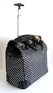 "19"" Computer/Laptop Bag Tote Duffel Rolling Wheel Padded Case White Polka Dots in Travel, Luggage 