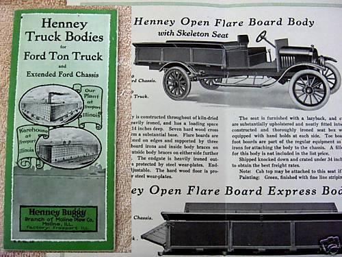 1910s Henney Model T Ford Truck Bodies Brochure