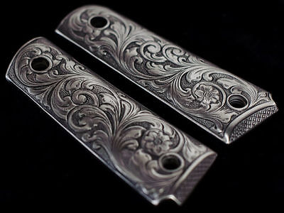 1911 CUSTOM GRIPS - SOLID PEWTER w/ SCROLL PATTERN fits COLT, KIMBER, more!