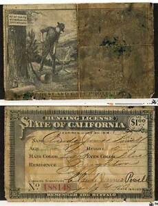 1915 16 california hunting license ebay for Fishing license ma