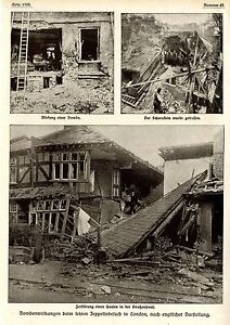 1915 wirkung der zeppelin luftschiff bomben auf h user in london ww1 ebay. Black Bedroom Furniture Sets. Home Design Ideas