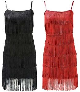 Fringe Dress on 1920 S Style Black Flapper Fringe Party Dress Size 8 10 12 14   Ebay