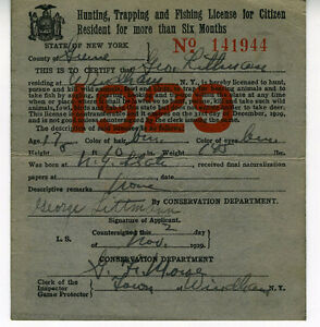 1929 hunting trapping amp fishing license from state of for New york fishing license online